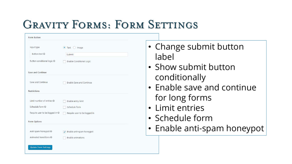 Gravity Forms: Form Settings • Change submit bu...