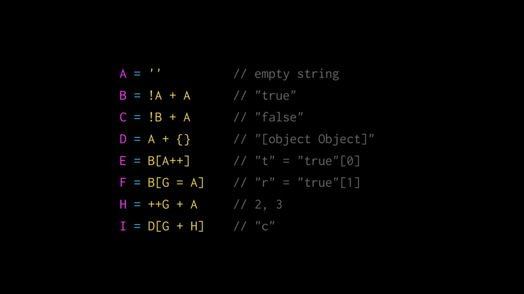 """A = '' // empty string B = !A + A // """"true"""" C =..."""