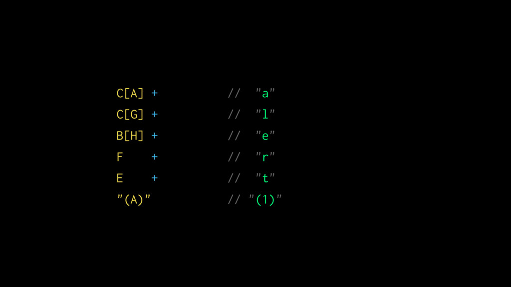 """C[A] + // """"a"""" C[G] + // """"l"""" B[H] + // """"e"""" F + /..."""