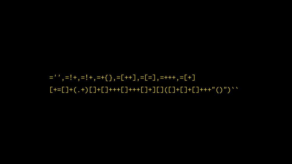 ='',=!+,=!+,=+{},=[++],=[=],=+++,=[+] [+=[]+(.+...