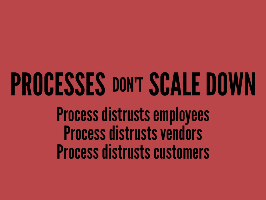 PROCESSES SCALE DOWN Process distrusts employee...