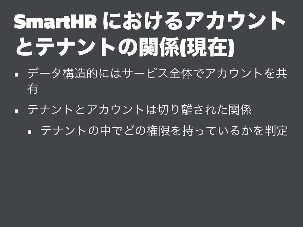 SmartHR ʹ͓͚ΔΞΧϯτ ͱςφϯτͷؔ(ݱࡏ) • σʔλߏతʹαʔϏεશମ...