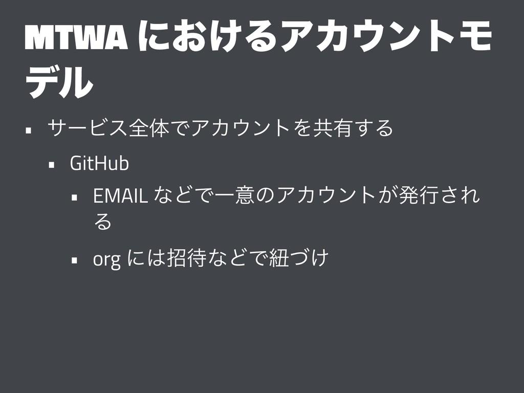 MTWA ʹ͓͚ΔΞΧϯτϞ σϧ • αʔϏεશମͰΞΧϯτΛڞ༗͢Δ • GitHub...