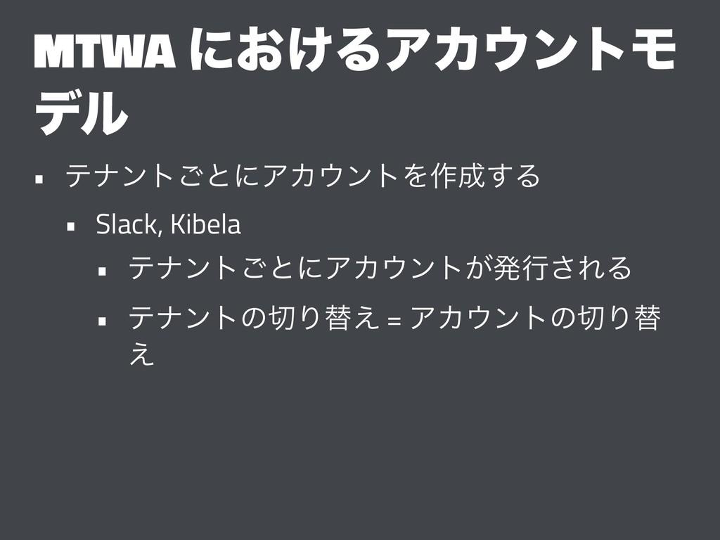 MTWA ʹ͓͚ΔΞΧϯτϞ σϧ • ςφϯτ͝ͱʹΞΧϯτΛ࡞͢Δ • Slack,...