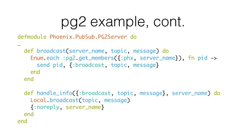 pg2 example, cont. defmodule Phoenix.PubSub.PG2...
