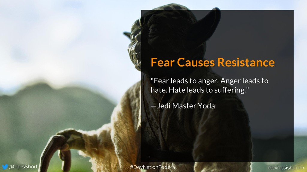 "Fear Causes Resistance ""Fear leads to anger. An..."