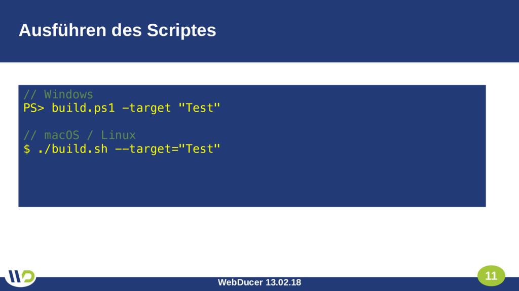 WebDucer 13.02.18 11 Ausführen des Scriptes // ...