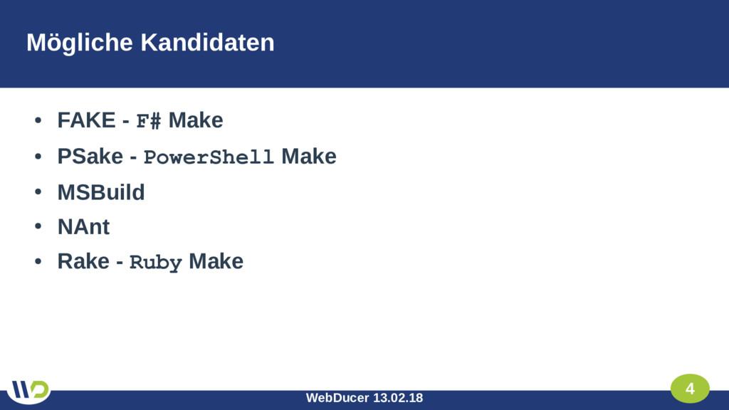 WebDucer 13.02.18 4 Mögliche Kandidaten ● FAKE ...