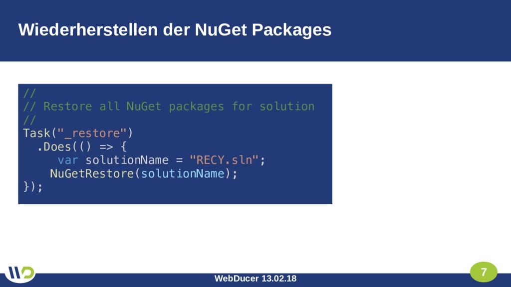 WebDucer 13.02.18 7 Wiederherstellen der NuGet ...