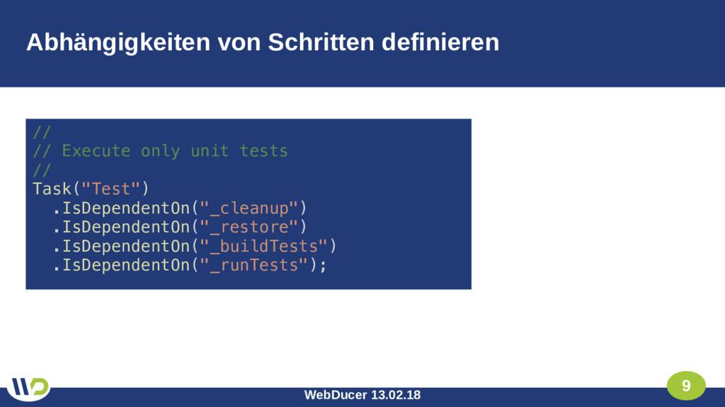 WebDucer 13.02.18 9 Abhängigkeiten von Schritte...