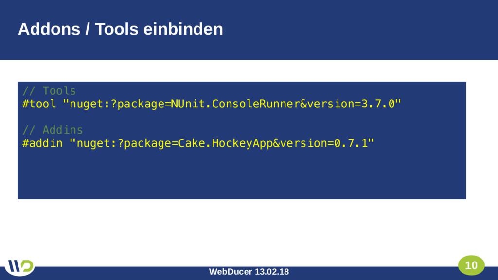 WebDucer 13.02.18 10 Addons / Tools einbinden /...