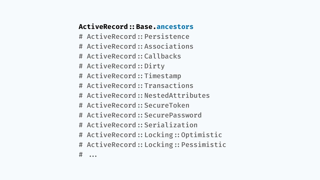 ActiveRecord!::Base.ancestors # ActiveRecord!::...