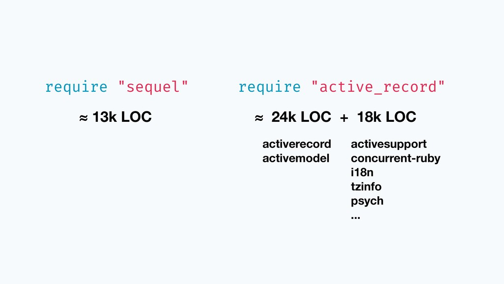 "require ""sequel"" ≈ 13k LOC require ""active_reco..."