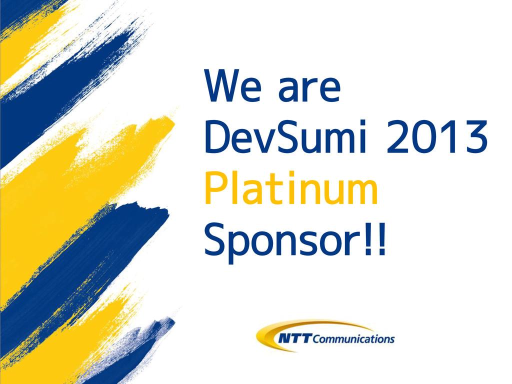 We are DevSumi 2013 Platinum Sponsor!!