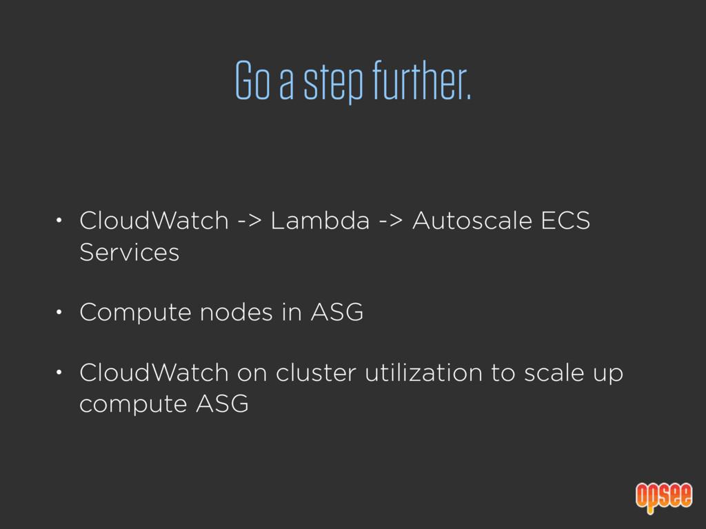 Go a step further. • CloudWatch -> Lambda -> Au...