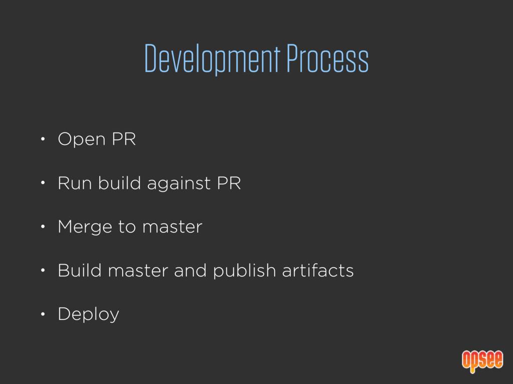 Development Process • Open PR • Run build again...