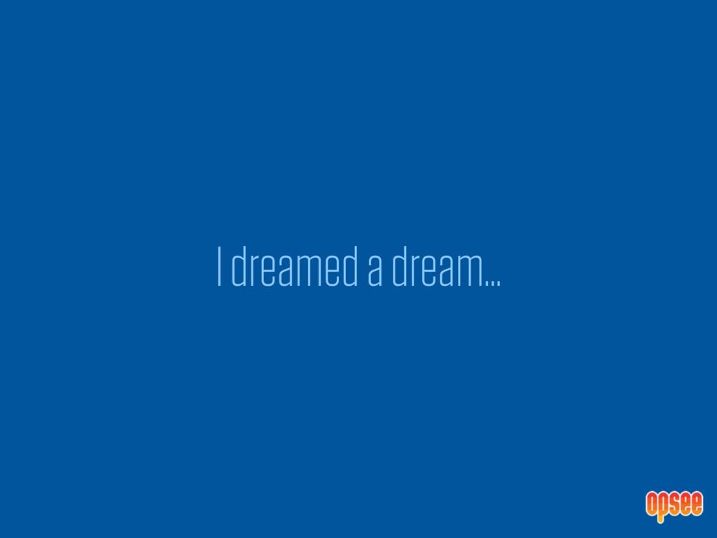 I dreamed a dream…