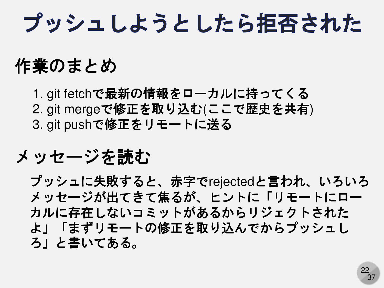22 作業のまとめ 1. git fetchで最新の情報をローカルに持ってくる 2. git ...