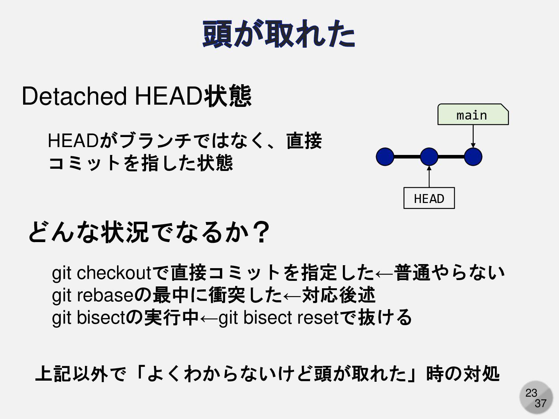 23 main HEAD Detached HEAD状態 HEADがブランチではなく、直接 コ...