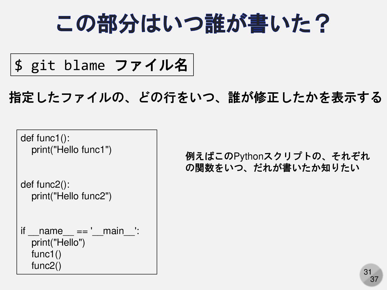 31 $ git blame ファイル名 指定したファイルの、どの行をいつ、誰が修正したかを表...
