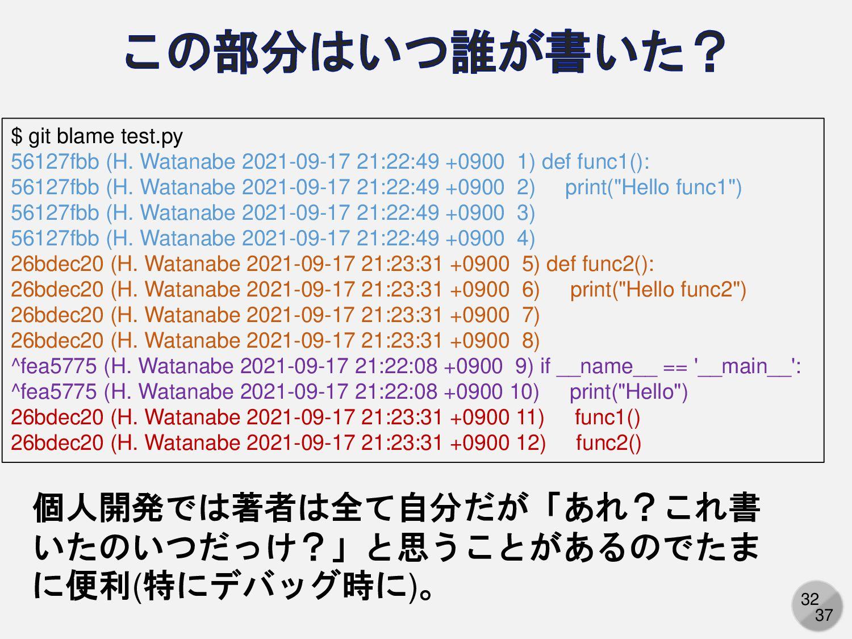 32 $ git blame test.py 56127fbb (H. Watanabe 20...