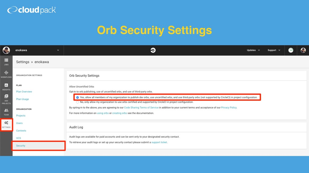 Orb Security Settings