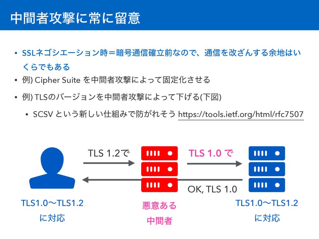 தؒऀ߈ܸʹৗʹཹҙ TLS 1.2Ͱ • SSLωΰγΤʔγϣϯʹ҉߸௨৴ཱ֬લͳͷͰɺ௨...