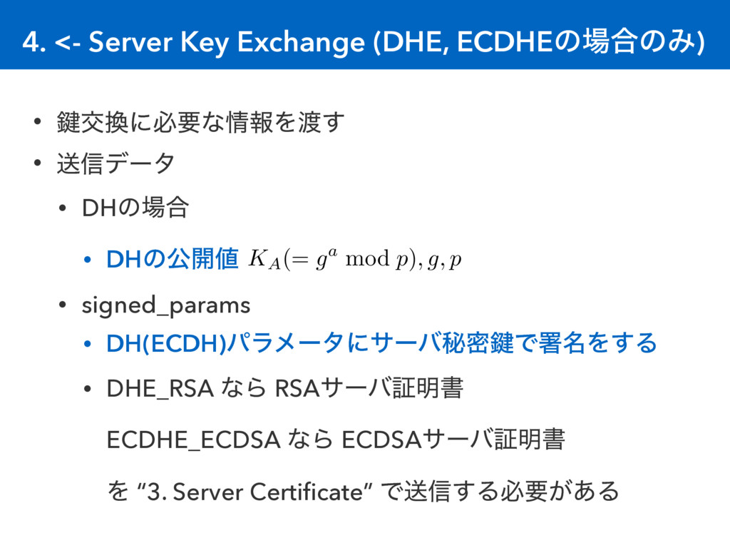 4. <- Server Key Exchange (DHE, ECDHEͷ߹ͷΈ) • 伴...