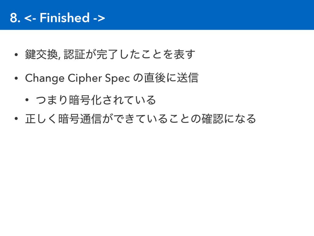 8. <- Finished -> • 伴ަ, ূ͕ྃͨ͜͠ͱΛද͢ • Change ...