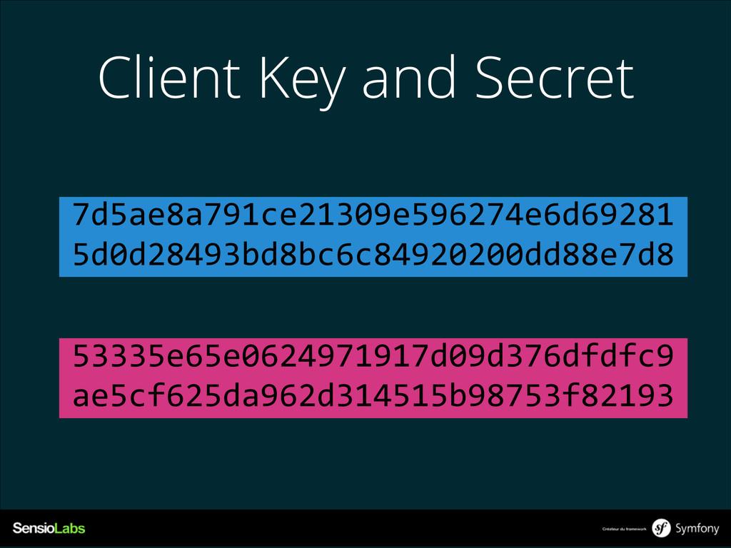 Client Key and Secret 7d5ae8a791ce21309e596274e...