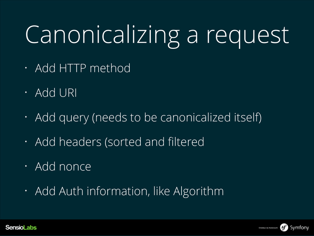 Canonicalizing a request • Add HTTP method • Ad...