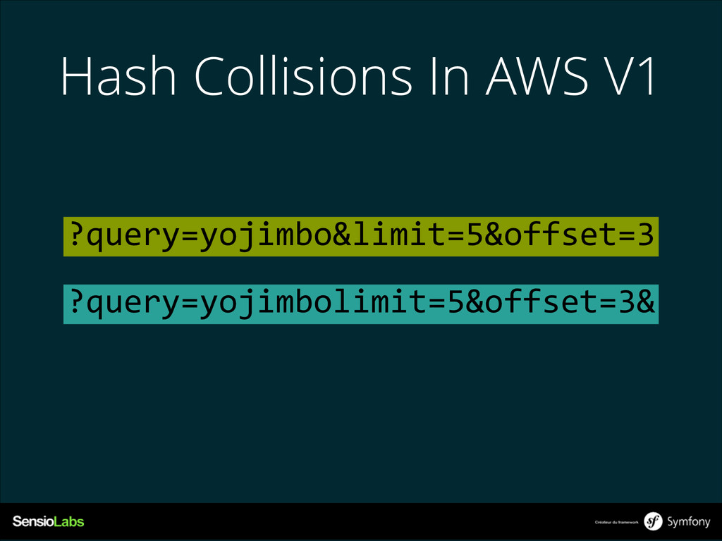 Hash Collisions In AWS V1 ?query=yojimbo&limit=...