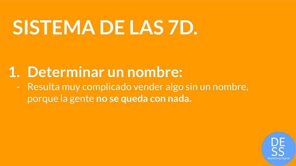 SISTEMA DE LAS 7D. 1. Determinar un nombre: - R...