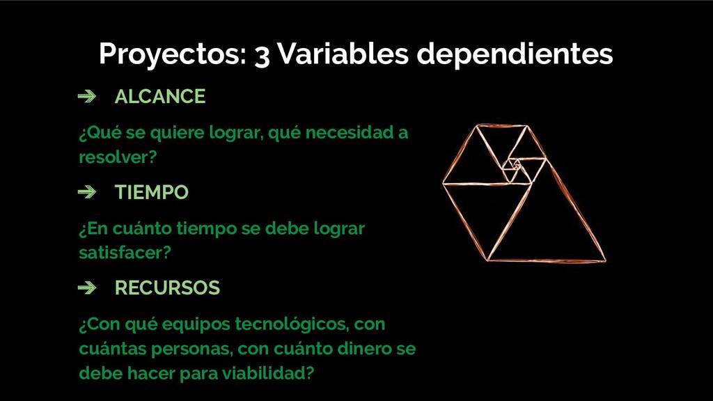 Proyectos: 3 Variables dependientes ➔ ALCANCE ¿...
