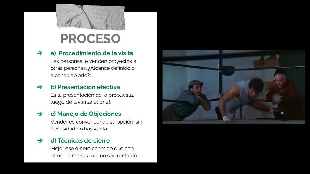 PROCESO ➔ a) Procedimiento de la visita Las per...