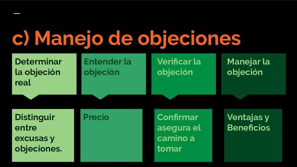 Precio c) Manejo de objeciones Verificar la obje...
