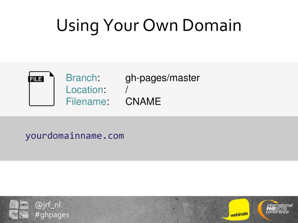 @jrf_nl #ghpages Using Your Own Domain yourdoma...
