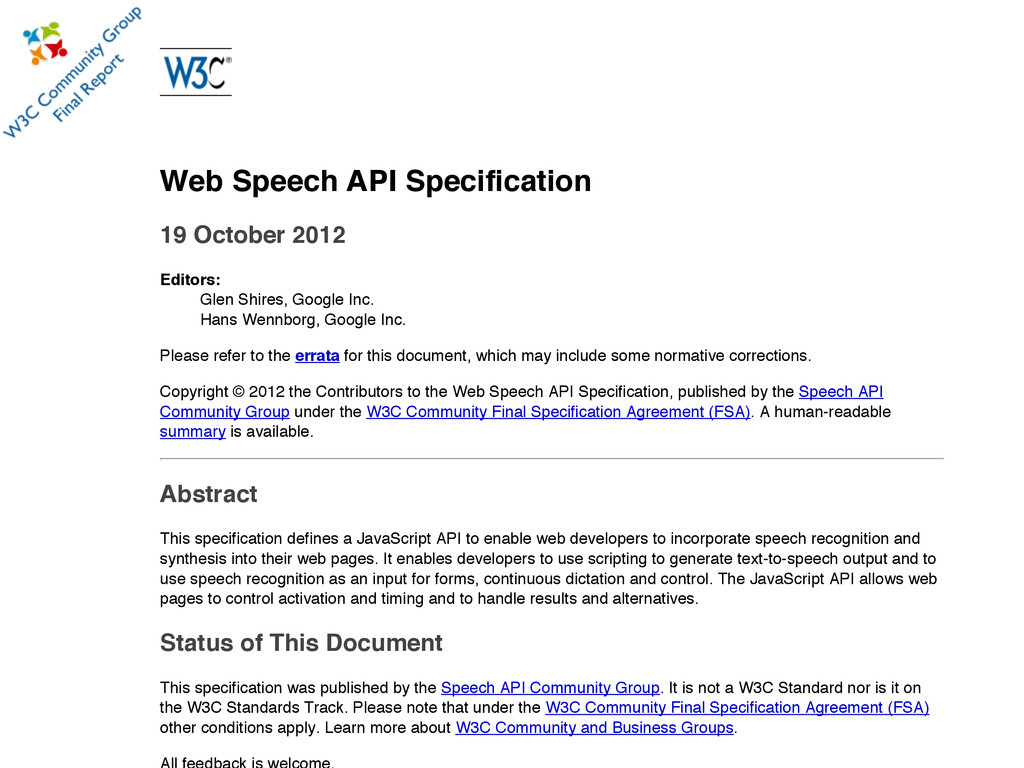 Web Speech API Specification 19 October 2012 Ed...