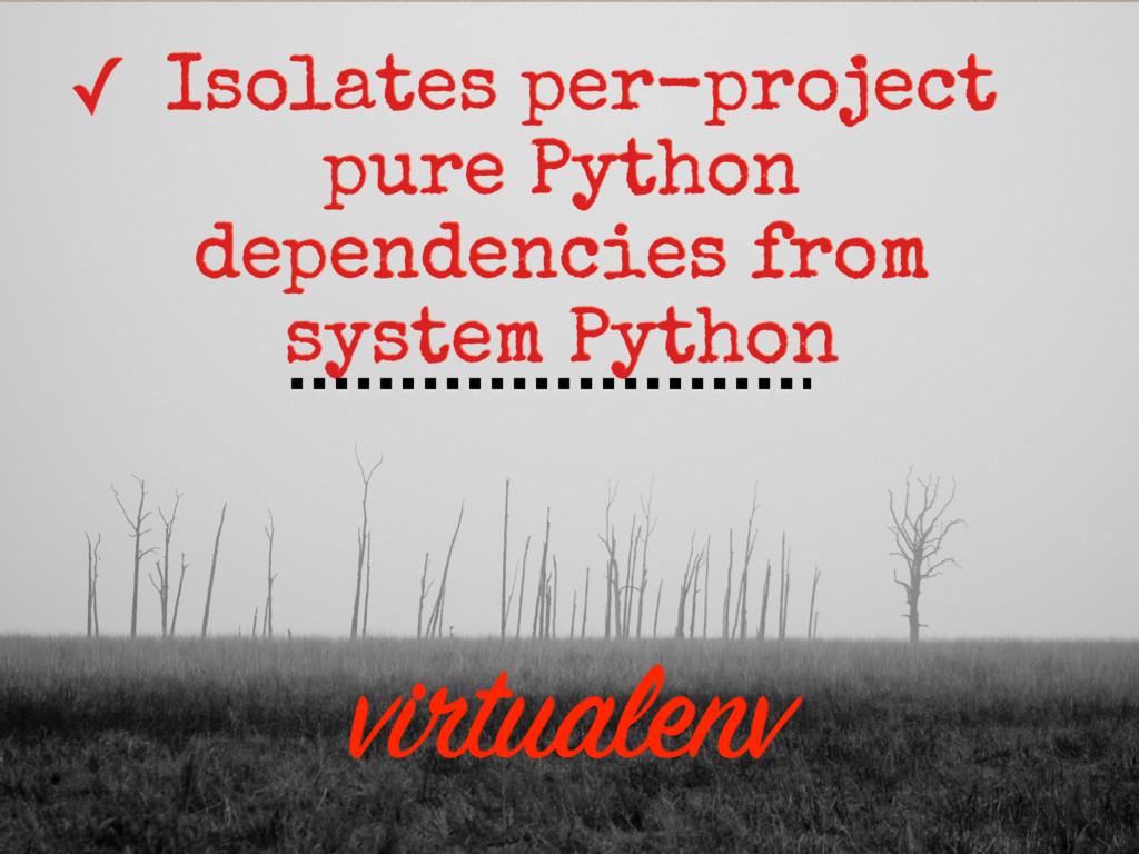 virtualenv ✓ Isolates per-project pure Python d...