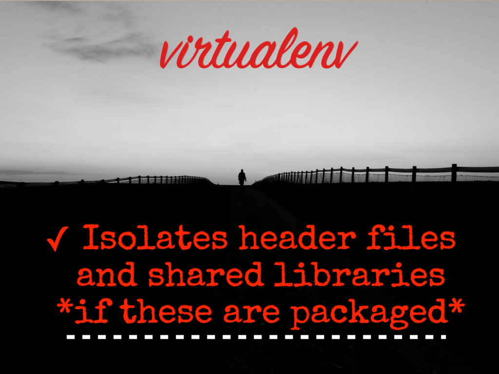 ✓ Isolates header files and shared libraries *if...