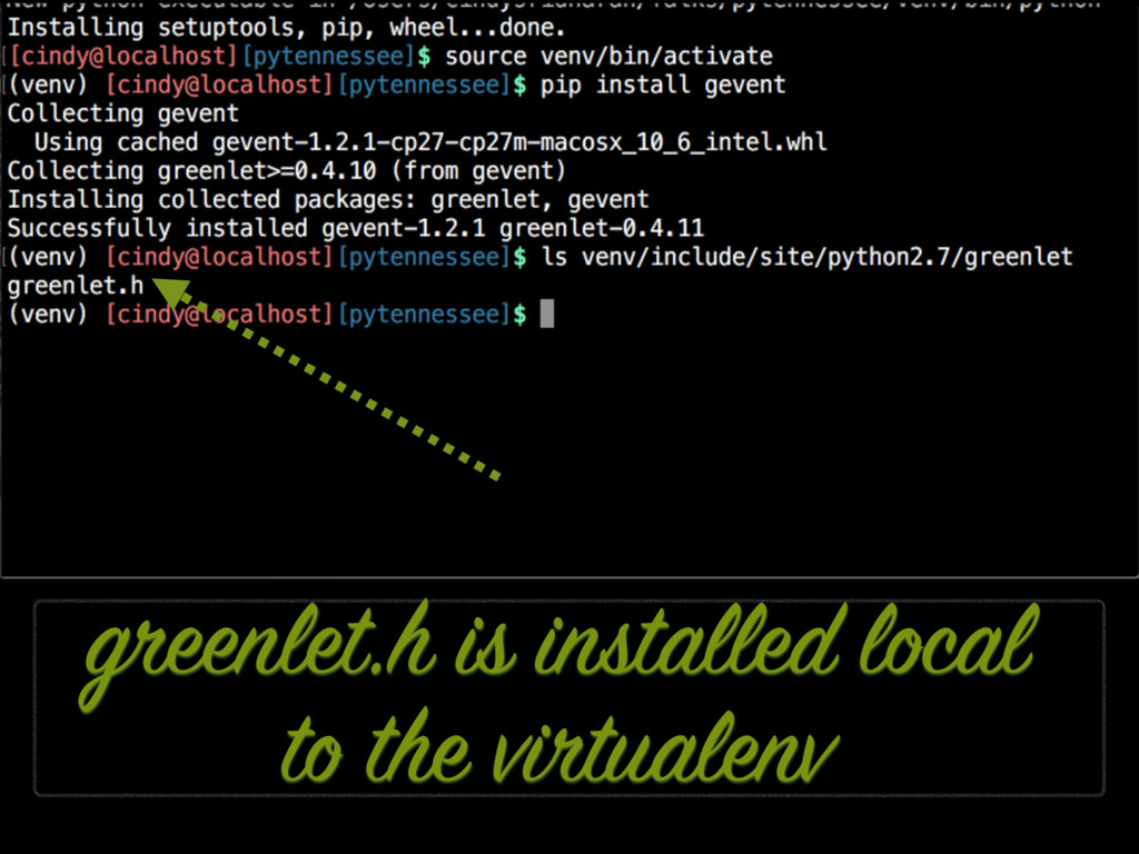 greenlet.h is installed local to the virtualenv