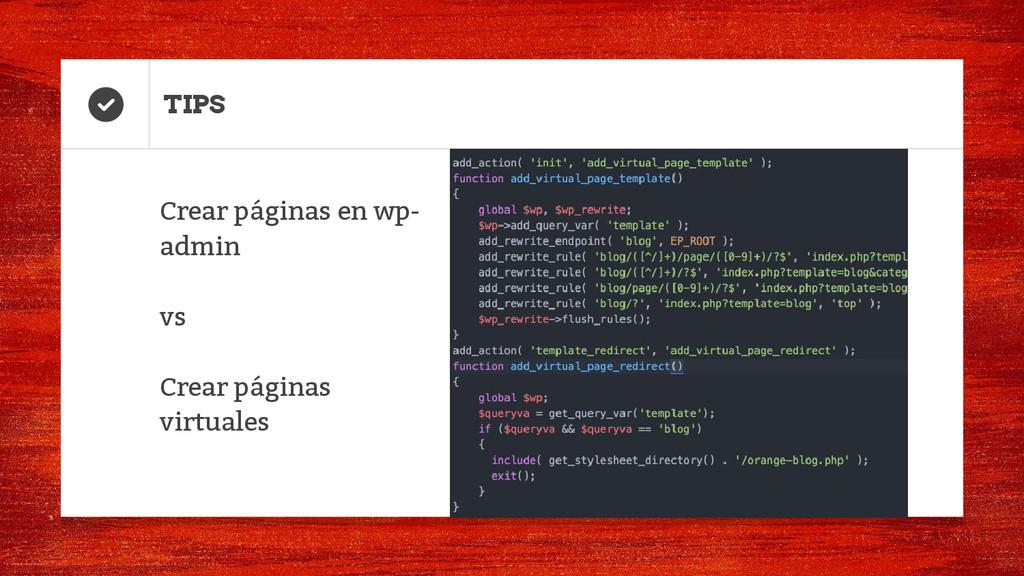 TIPS Crear páginas en wp- admin vs Crear página...