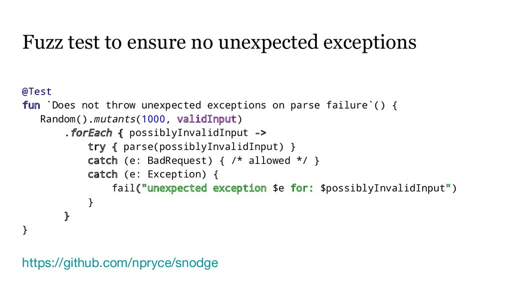 Fuzz test to ensure no unexpected exceptions @T...