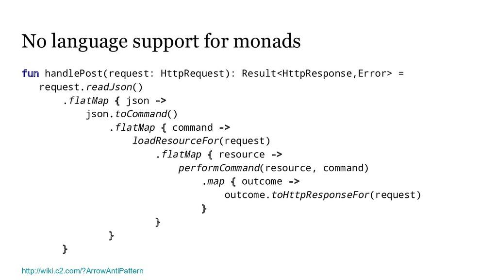 No language support for monads fun handlePost(r...