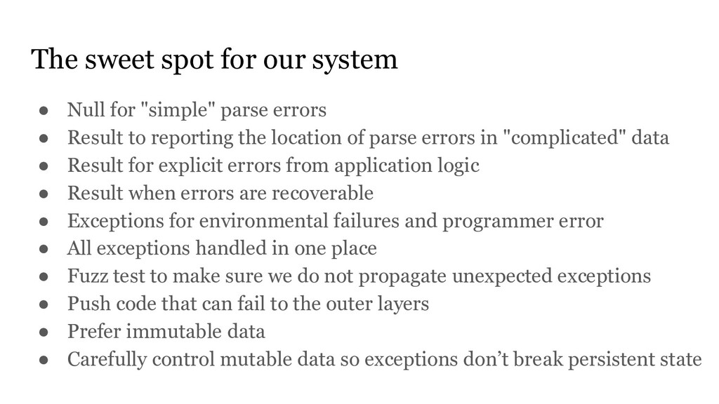 """The sweet spot for our system ● Null for """"simpl..."""
