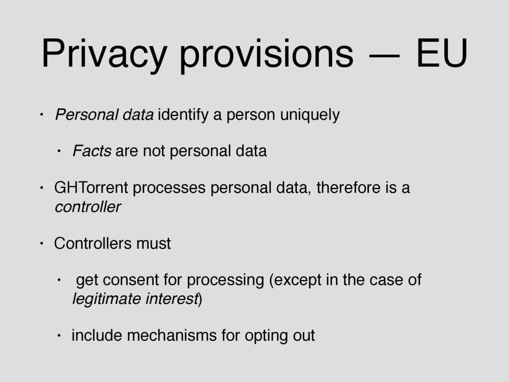 Privacy provisions — EU • Personal data identif...