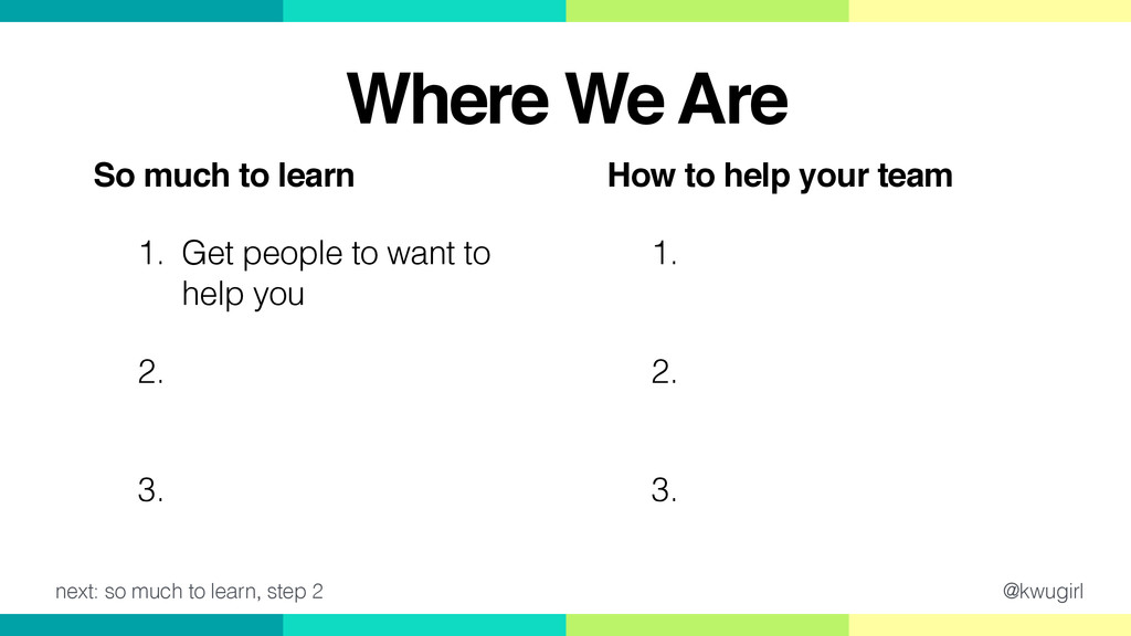 @kwugirl How to help your team! 1. Ask good que...