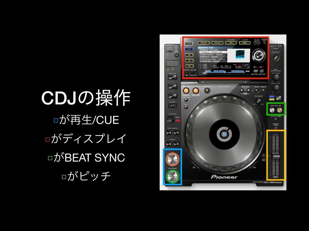 CDJͷૢ࡞ □͕࠶ੜ/CUE  □͕σΟεϓϨΠ  □͕BEAT SYNC  □͕ϐον