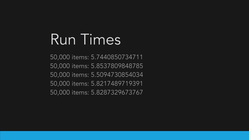 Run Times 50,000 items: 5.7440850734711 50,000 ...
