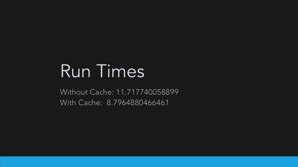 Run Times Without Cache: 11.717740058899 With C...